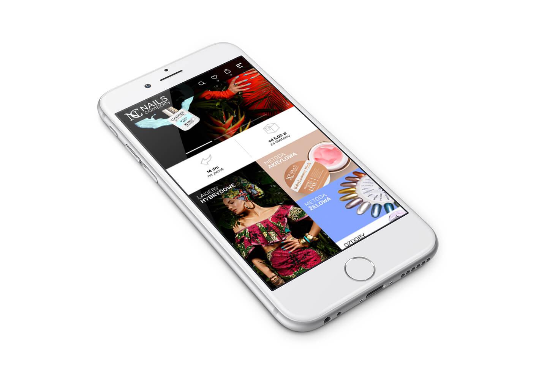 Nails Company - wizualizacja projektu strony na telefonie, wersja responsywna RWD. Lokalizacja firmy: Zabrze, Śląsk.
