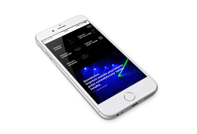 Nam Tara - widok mobilny responsywnej strony internetowej grupy artystycznej taniec ognia, fireshow, lightshow