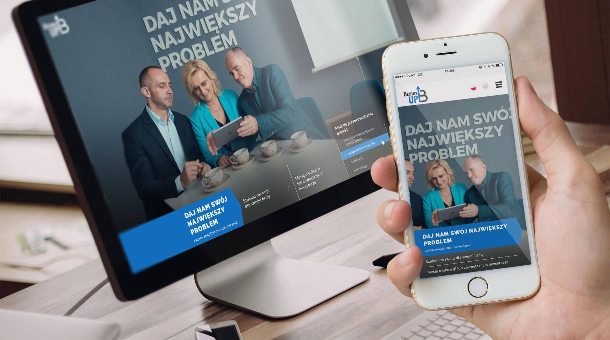 Wizualizacja działania responsywnej strony internetowej Biznes Up