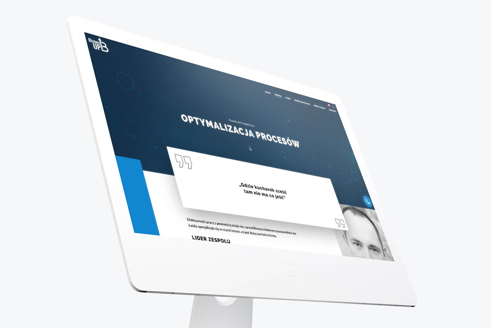 Biznes Up - wizualizacja nowej strony www dotyczącej consultingu