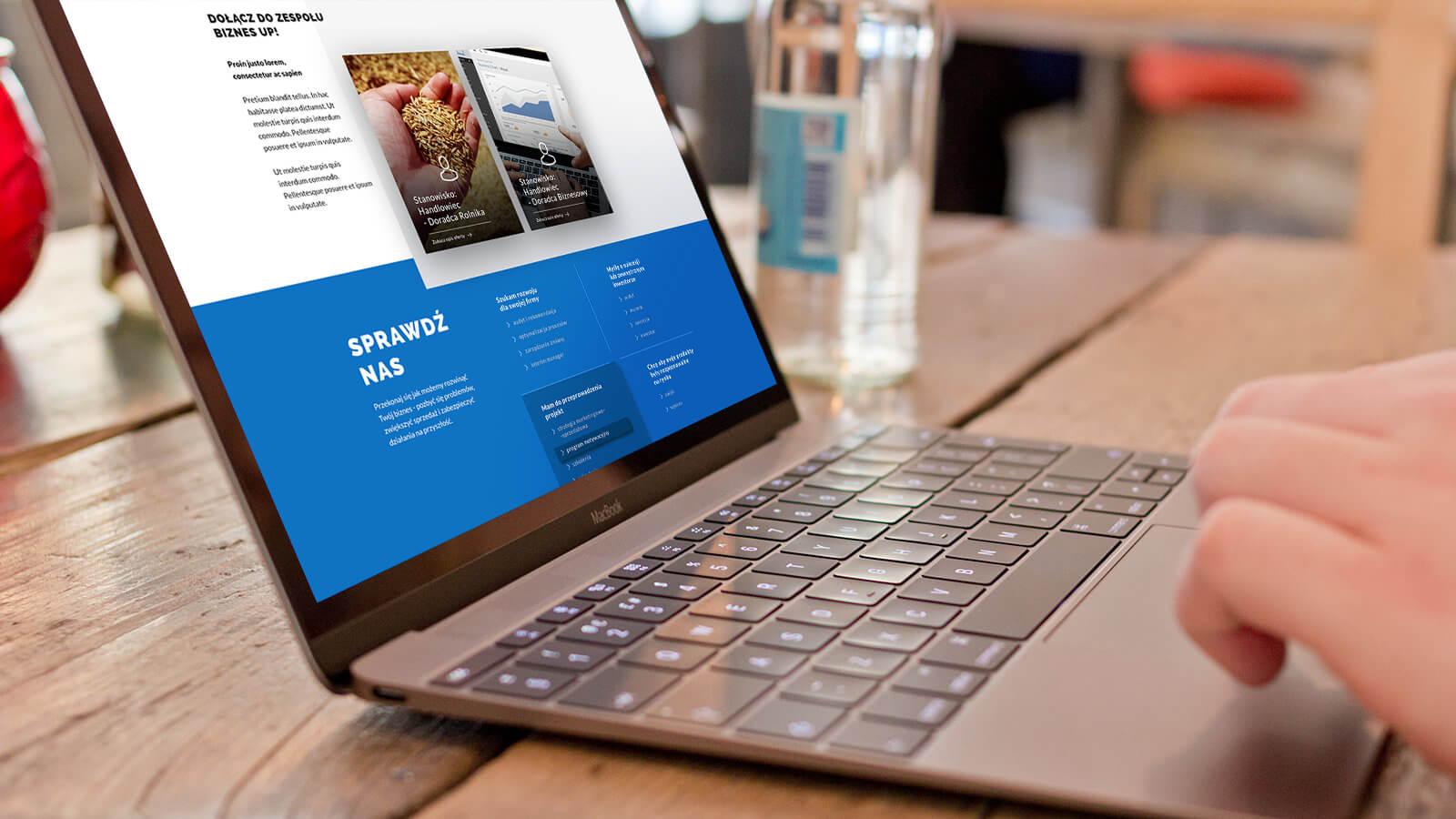 Wizualizacja strony www dla Biznes Up
