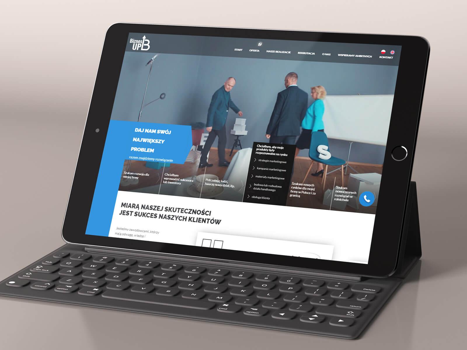 Biznes Up - widowiskowa interaktywna strona internetowa - animacje html 5, wordpress, css