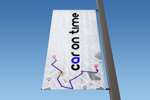 Car On Time projekt logo - wizualizacja na fladze, Gliwice, Śląsk