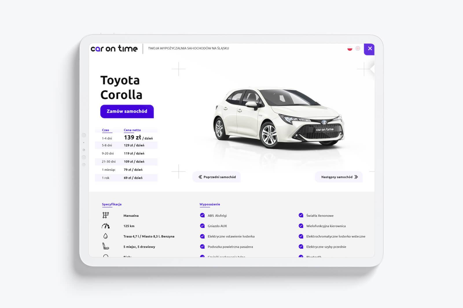 Nowoczesna, minimalistyczna strona internetowa dla wypożyczalni samochodów z Gliwic na Śląsku - Car On Time