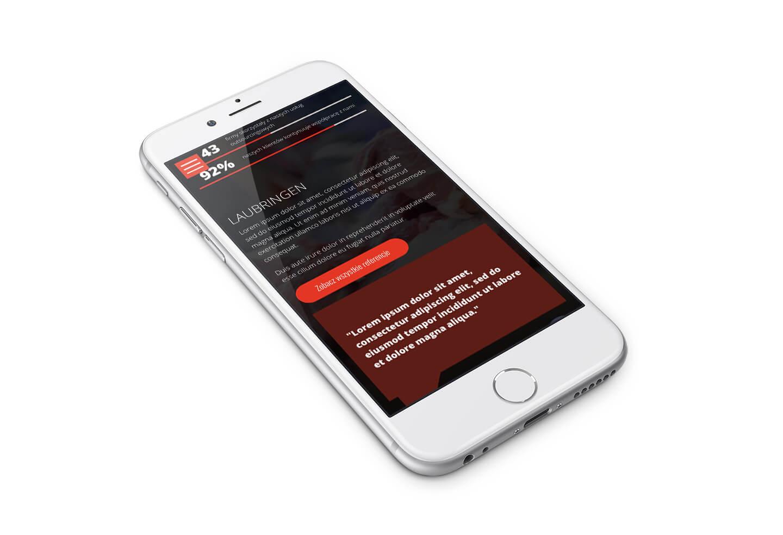 Laubringen - nowa strona internetowa w technologii RWD na telefonie. Wieruszów, Łódzkie