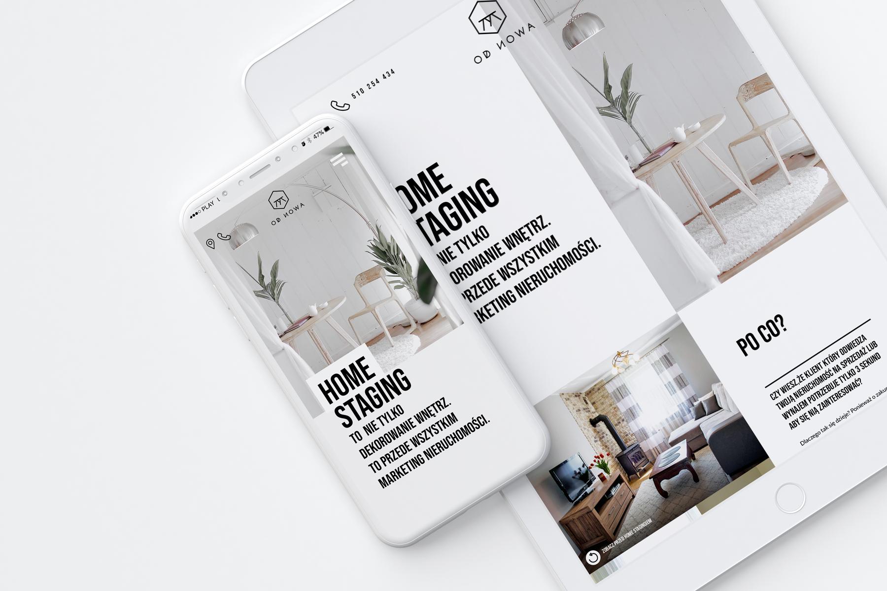 Od Nowa - home staging - strona internetowa typu one page design poświęcona aranżacji domów i mieszkań przeznaczonych na sprzedaż - Kraków i okolice