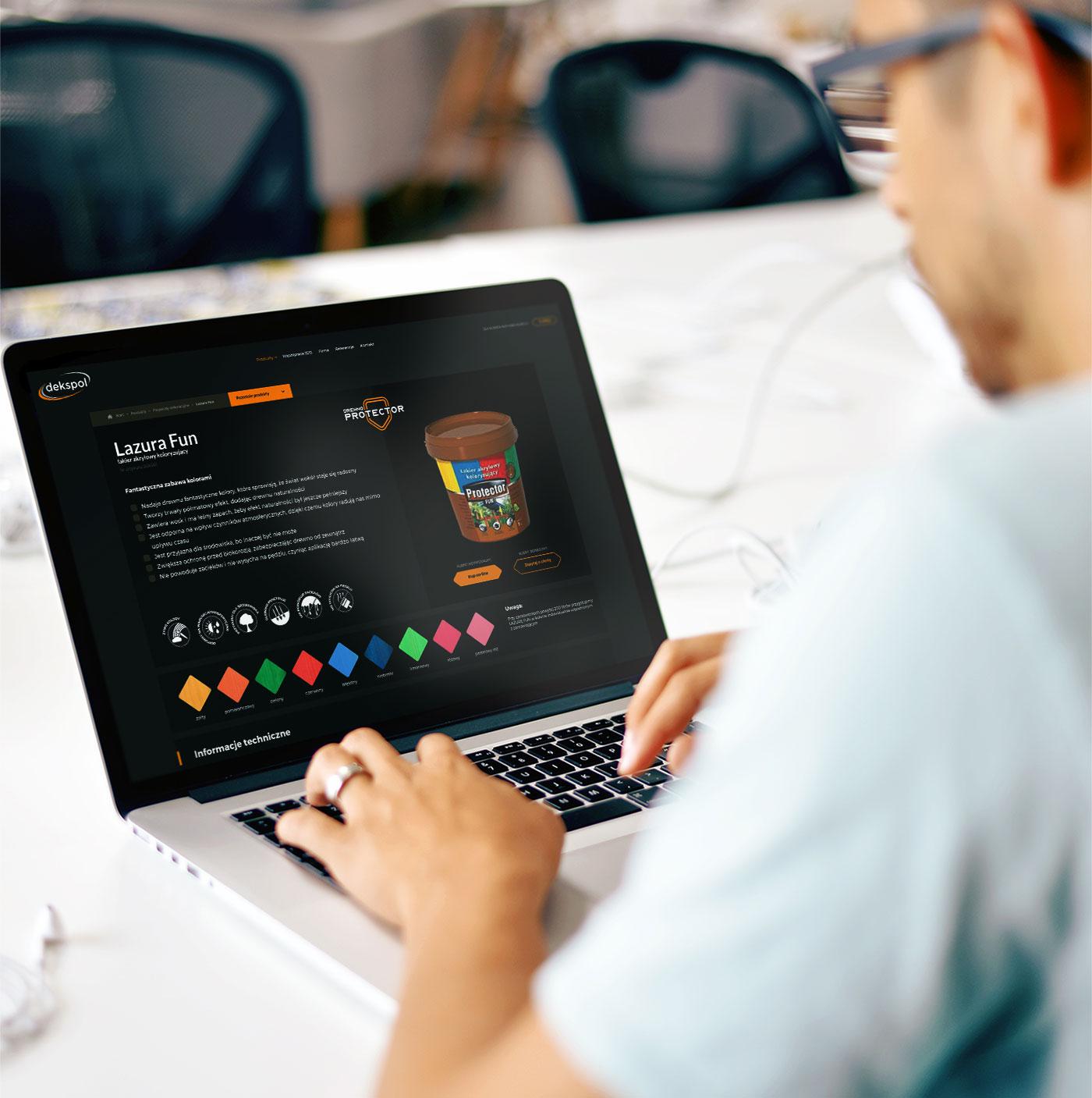 Dekspol - wizualizacja projektu nowoczesnej strony internetowej z prezentacją produktów