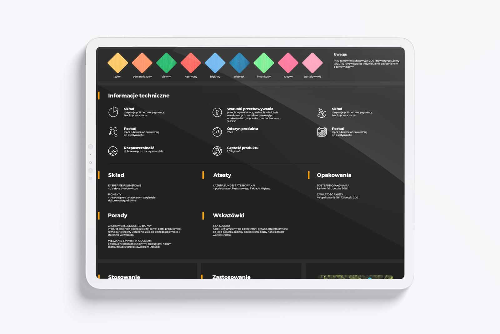 Dekspol - mockup strony internetowej tablet, produkt layoutu karty produktu