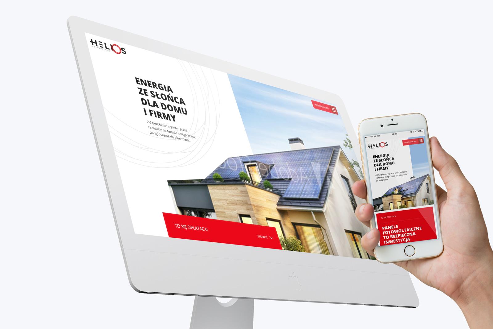 Helios Fotowoltaika - projekt strony internetowej typu long page / one page zaprojektowanej w oparciu o WordPress