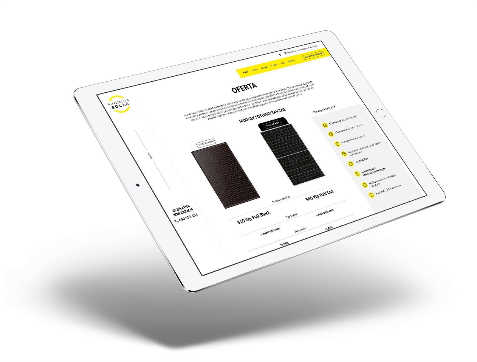 Promika Solar - strona internetowa na tablecie