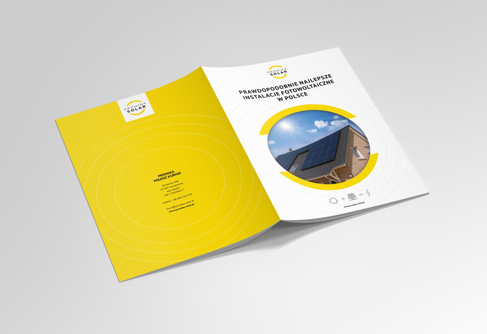 Promika Solar - broszura ofertowa - projekt i wizualizacja na mmockupie