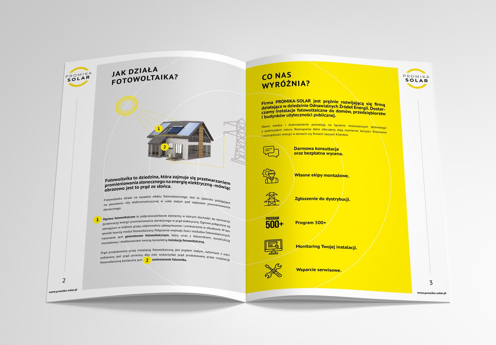 Promika Solar - broszura ofertowa - projekt i wizualizacja na mmockupie 2