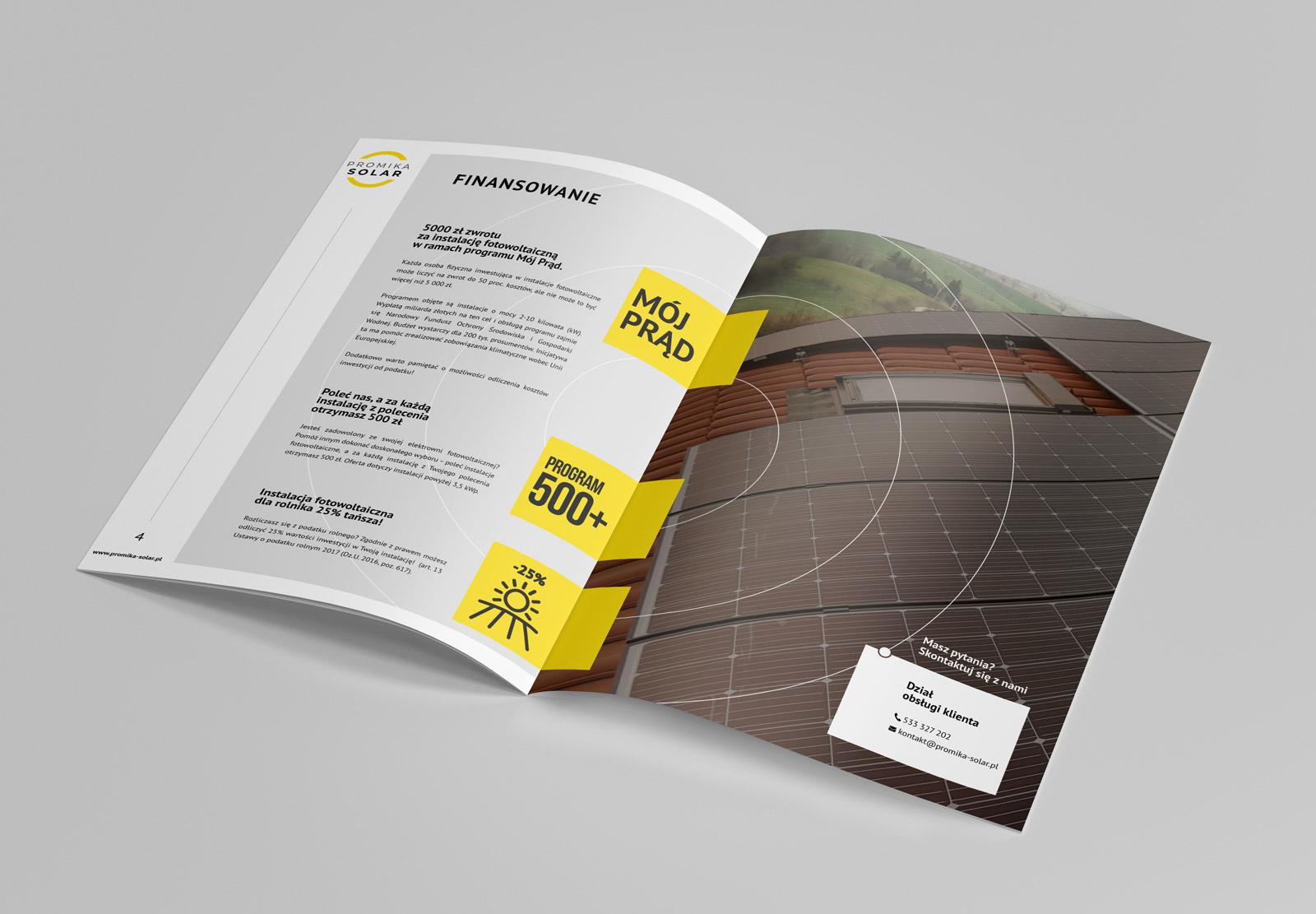 Promika Solar - broszura ofertowa - projekt i wizualizacja na mmockupie 3 - strony środkowe