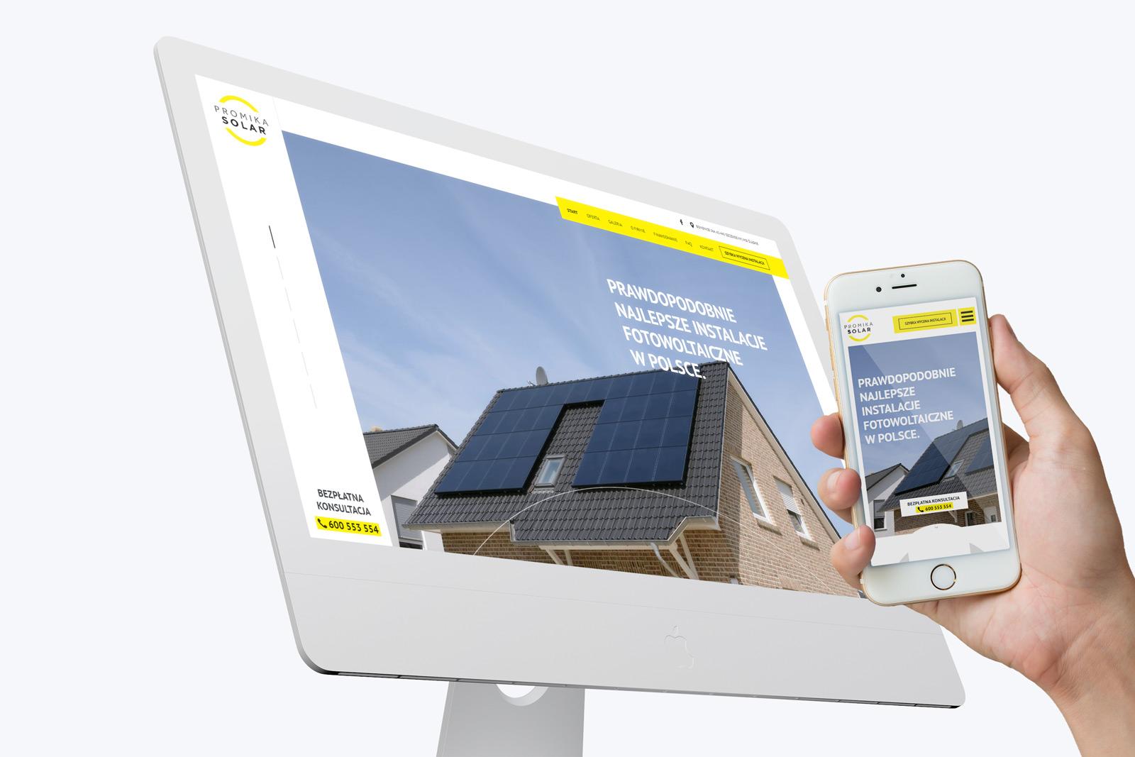 Promika Solar - nowoczesna strona internetowa firmy sprzedającej i montującej instalacje fotowoltaiczne