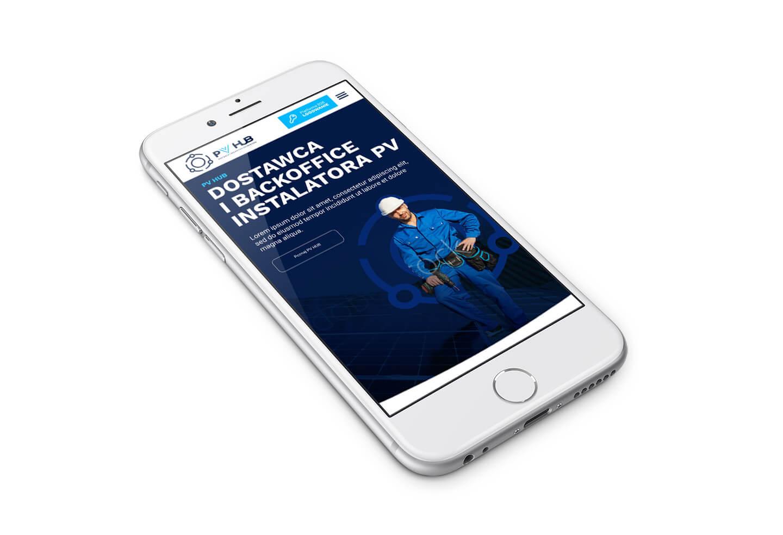 PVhub - nowa strona internetowa, projekt responsywny na telefonie