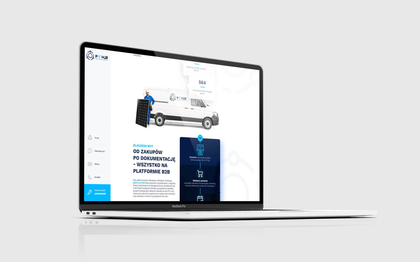 PVhub strona internetowa typu B2B dla instalatorów fotowoltaiki w Polsce