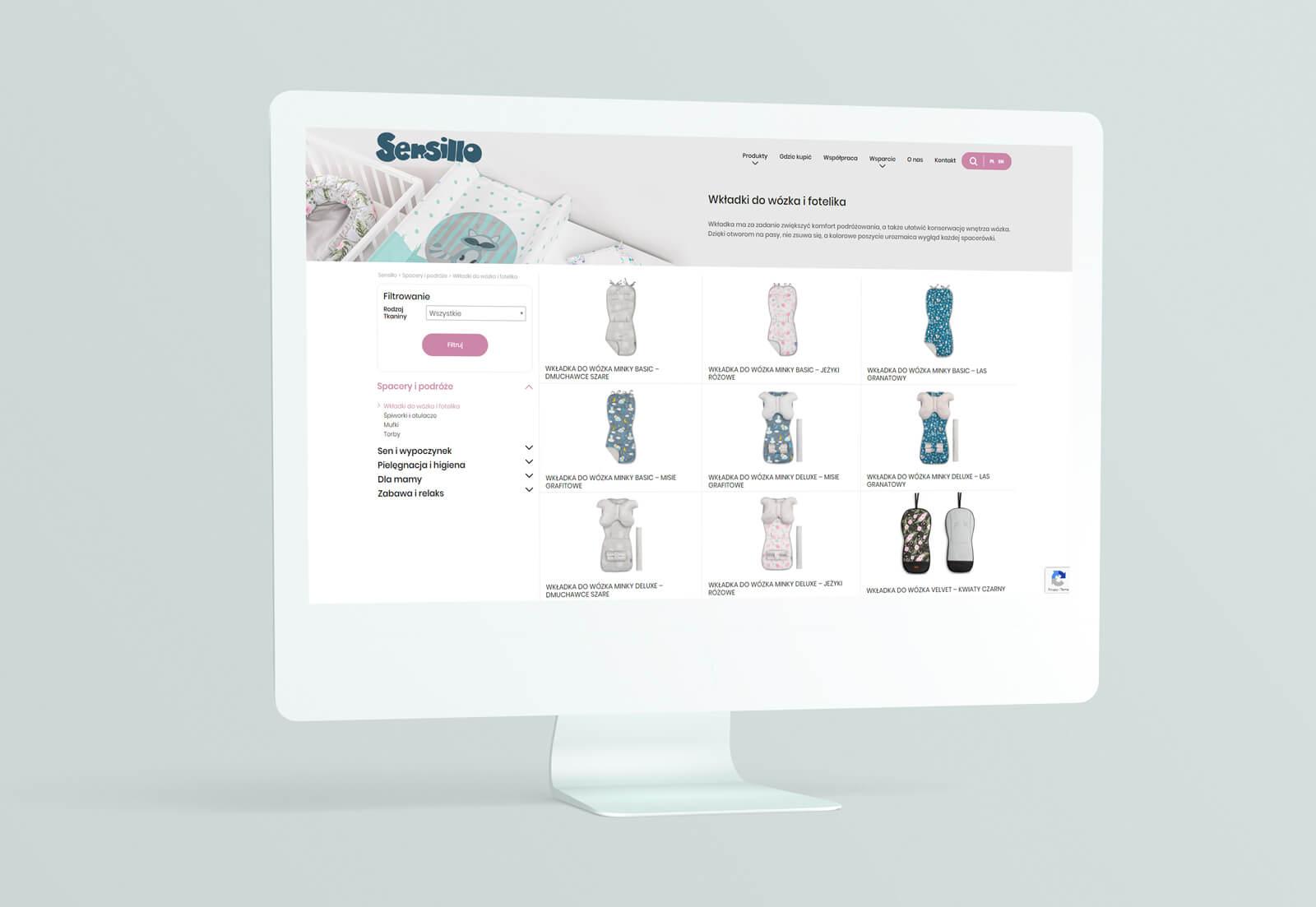 Widok kategorii produktów w sklepie internetowym Sensillo