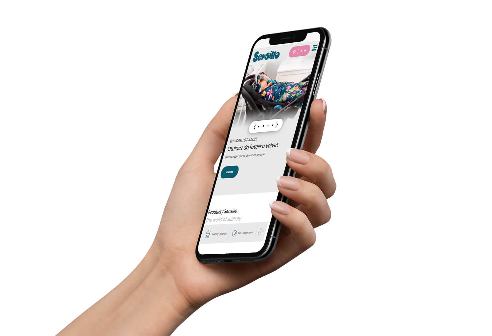 Sensillo - strona internetowa pokazana na telefonie